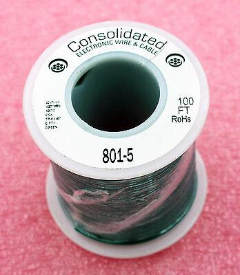 Solid Core GREEN Wire 22 Gauge 100ft Spool  (JW100GR)