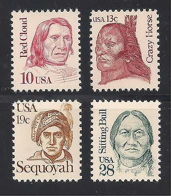 NATIVE AMERICAN INDIANS - 4 U.S. STAMPS - SITTING BULL, CRAZY HORSE, RED CLOUD +