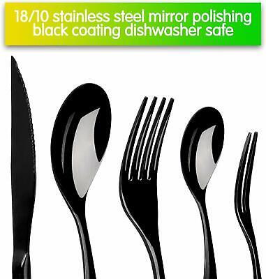 20pcs Flatware Set 304 Stainless Steel Spoon Fork Cutlery Black Silverware Set