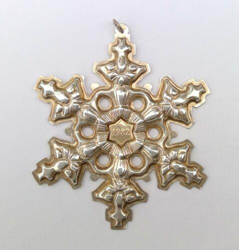 Vintage Gorham STERLING SILVER Gold Year Mark 1982 SNOWFLAKE Ornament EXCELLENT