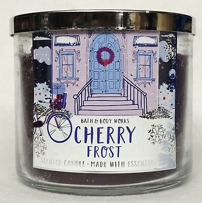 1 Bath & Body Works CHERRY FROST Scented Large 3-Wick Candle 14.5 (Frost Scented Candle)