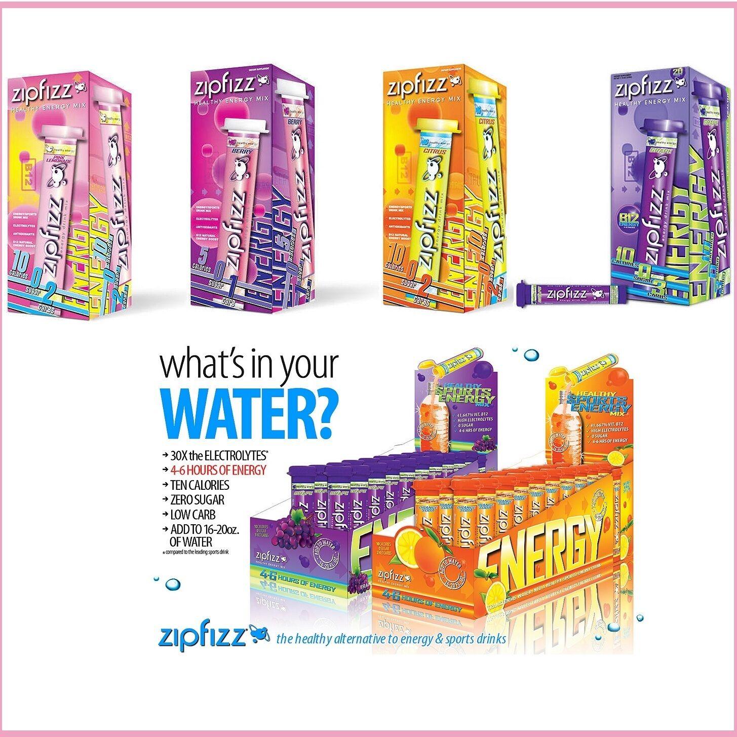 Zipfizz Energy Sports All Natural Healthy Drink Mix Powder Sugar Free 20 Pks Box