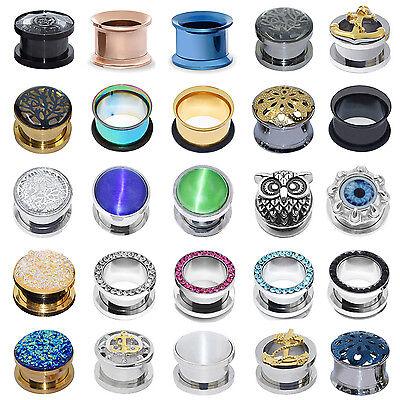 1pair Ear Plug Stainless Steel Ear Gauges Double Flared Ear Tunnel Body Jewelry