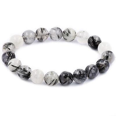 Natural Black Tourmaline Rutilated Quartz Gemstone Bead Elasticity Bracelet - Pearl Tourmaline Bracelet