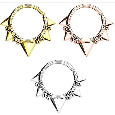 EDGY TRIANGLE/BEAD BRASS SEPTUM NOSE DAITH CARTILAGE RING HOOP 16G PIERCING