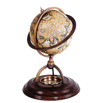 Authentic Models Gerardus Mercator Terrestrial Globe With Compass
