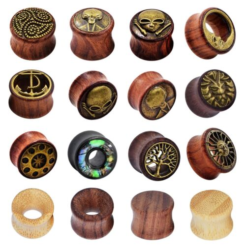 2pcs Natural Wood Ear Gauges Double Flared Ear Plugs Flesh Tunnels Us Stock