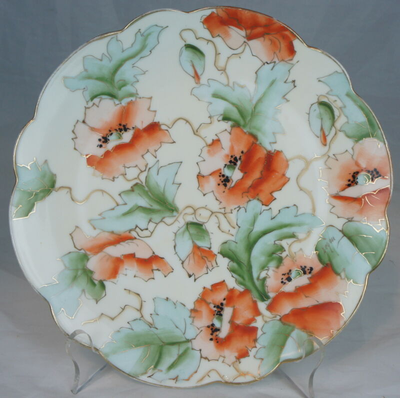 ANTIQUE ROYAL VIENNA HAND PAINTED POPPY FLOWERS,GOLD PLATE ART NOUVEAU SIGNED