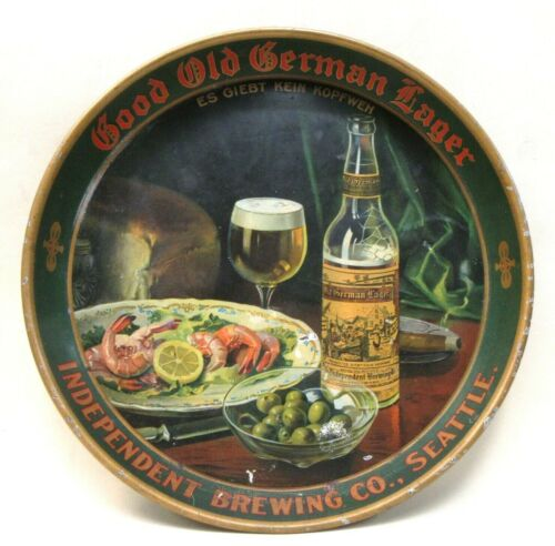 """circa 1910 INDEPENDENT BREWING OLD GERMAN LAGER Seattle 12"""" beer tray"""