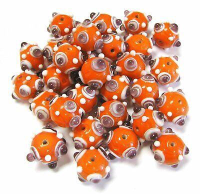 Bumpy Beads Orange Lampwork Glass Beads DIY Craft 5pcs 20mm -