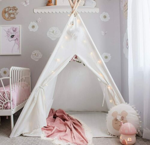 Kids Teepee Tent Foldable Play Tent for Indoor Raw Canvas Te
