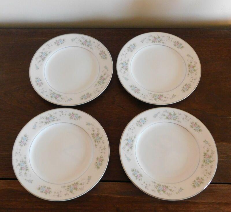 4 Bread / Dessert Plate s -  CARLTON CORSAGE 481 JAPAN Pink, Blue, White Flowers