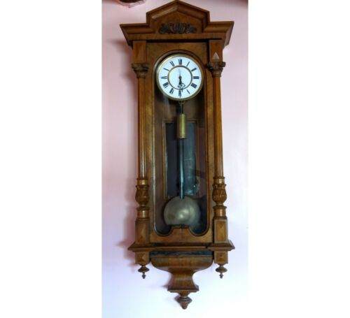 Walnut Parlor Regulator Wall Clock ca. 1890