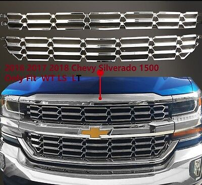 Chrome Mesh Grille Overlay Insert Fitting 16-18 Chevy Silverado 1500 LS LT WT Chrome Plated Insert