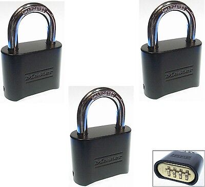 Combination Lock Set By Master 178blk Lot Of 3 Resettable Brass Insert Black