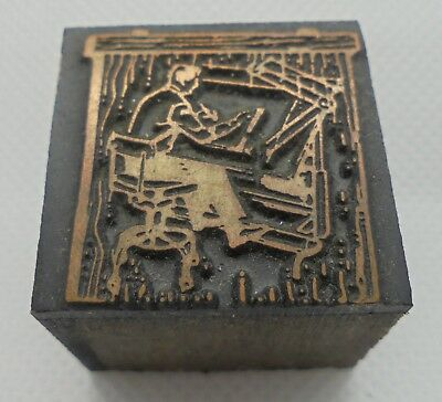 Vintage Printing Letterpress Printers Block Man Sitting In Chair Drafting Table