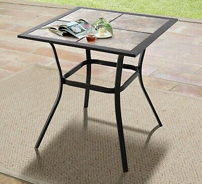 Small Outdoor Patio Bistro Side End Table Drink Snack Food Tiled Top Metal New