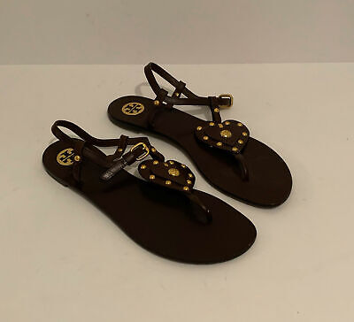 TORY BURCH brown leather studded HEART sandals Women's 11M