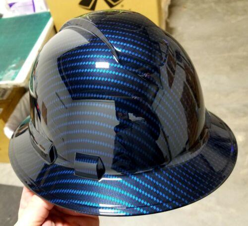 NEW FULL BRIM Hard Hat custom hydro dipped Deep blue candy carbon fiber sick  6