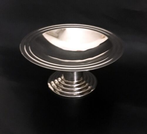 Rare French Art Deco Ondulations Pedestal Fruit Bowl by Luc Lanel for Christofle