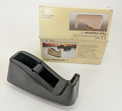 Vtg Heavy Desk Top Tape Dispenser Lion Office Products 25 No Slip 1-3 In Core