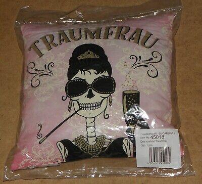 TRAUMFRAU Party Dekokissen 40x40cm Totenkopf Gothic # 45018  (Sugar Skull Frau)