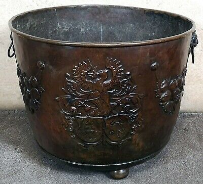 LARGE DUTCH LACQUERED COPPER LOG BIN WITH CRESTED DECORATION CIRCA 1800