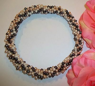 NWOT Real Freshwater Pearl Multi Color Strand Necklace Wrap Bracelet Peach Blue  (Peach Color Freshwater Pearl)