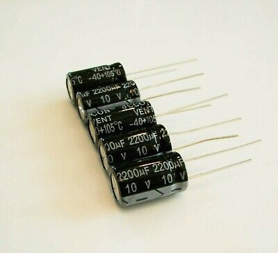 5pcs 2200uf 10v Electrolytic Capacitors 105c Chenxing 10x17 Usa Seller