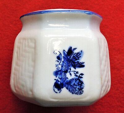 "Porcelain Incense Holder White w/ Blue Flower Design 6-Sided w/ 4 Holes 3"" Tall"