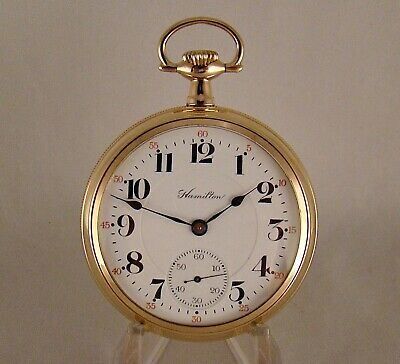 """104 YEARS OLD HAMILTON """"996"""" 19j 14k GOLD FILLED OPEN FACE 16s RR POCKET WATCH"""