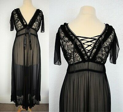 Retro Gothic Black Lace Sheer Lingerie Long Babydoll Nightdress Size Small