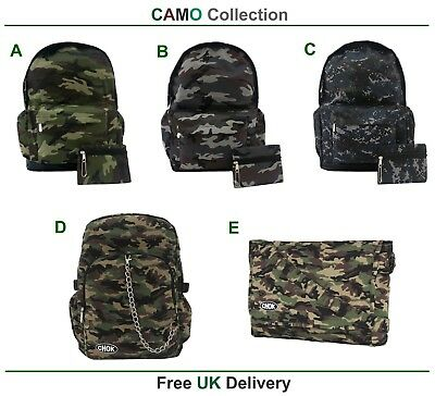 CAMO Backpack Rucksack Camouflage Cool Army Camping School Gym Goth Travel Bag  ()