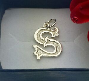 New! Sterling silver initials letter S pendant charm