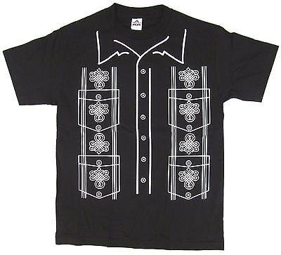 Costume Black Adult T-shirt - GUAYABERA T-shirt Latin Wedding Shirt Costume Tee Adult S,M,L,XL,2XL Black New