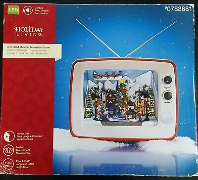 SHARP RARE HTF Holiday Living LED Animated Musical TV XMAS VILLAGE SCENE