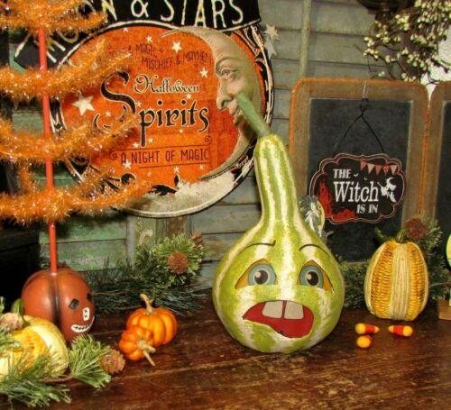 Primitive Antique Vtg Style Halloween Paper Mache Jack-O-Lantern Grouchy Gourd