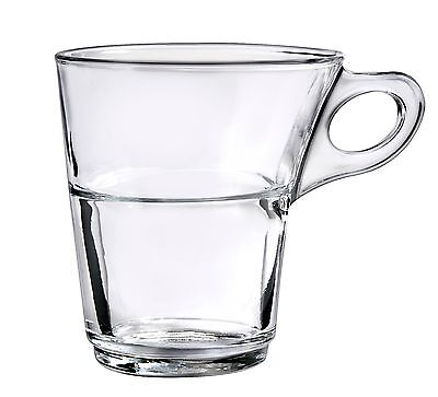 (Duralex - Caprice Clear Stackable Glass Coffee Cup 220 ml. ( 7 3/4 oz. ) Set of )