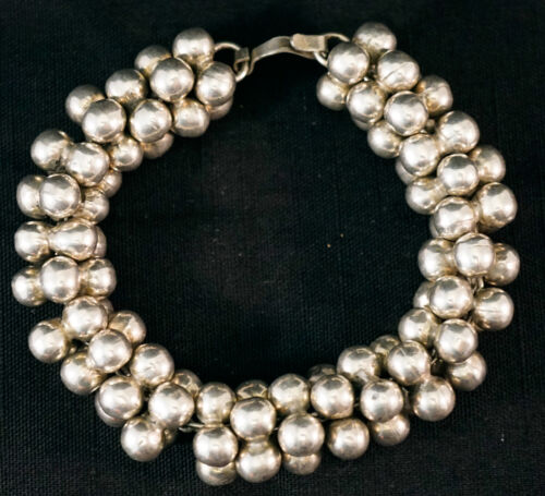 """Sterling Silver Ball Bead Cluster Bracelet Made in Mexico 8""""  66 grams"""