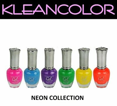 KLEANCOLOR Neon Gel Effect Nail Polish Set of 6 Colors Long Lasting Lacquer