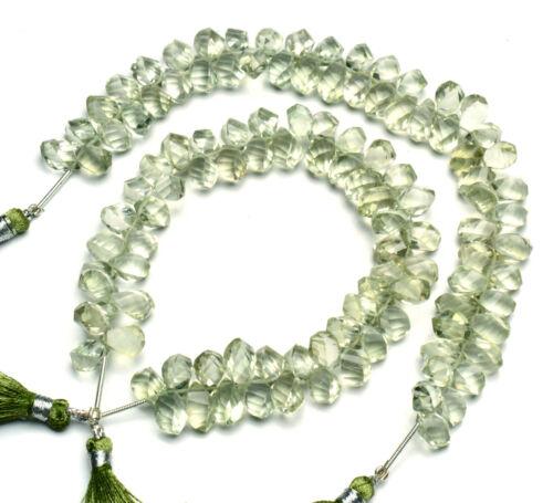 """Natural Gem Brazil Prasiolite 10x7mm Faceted Twisted Teardrop Briolette Beads 9"""""""