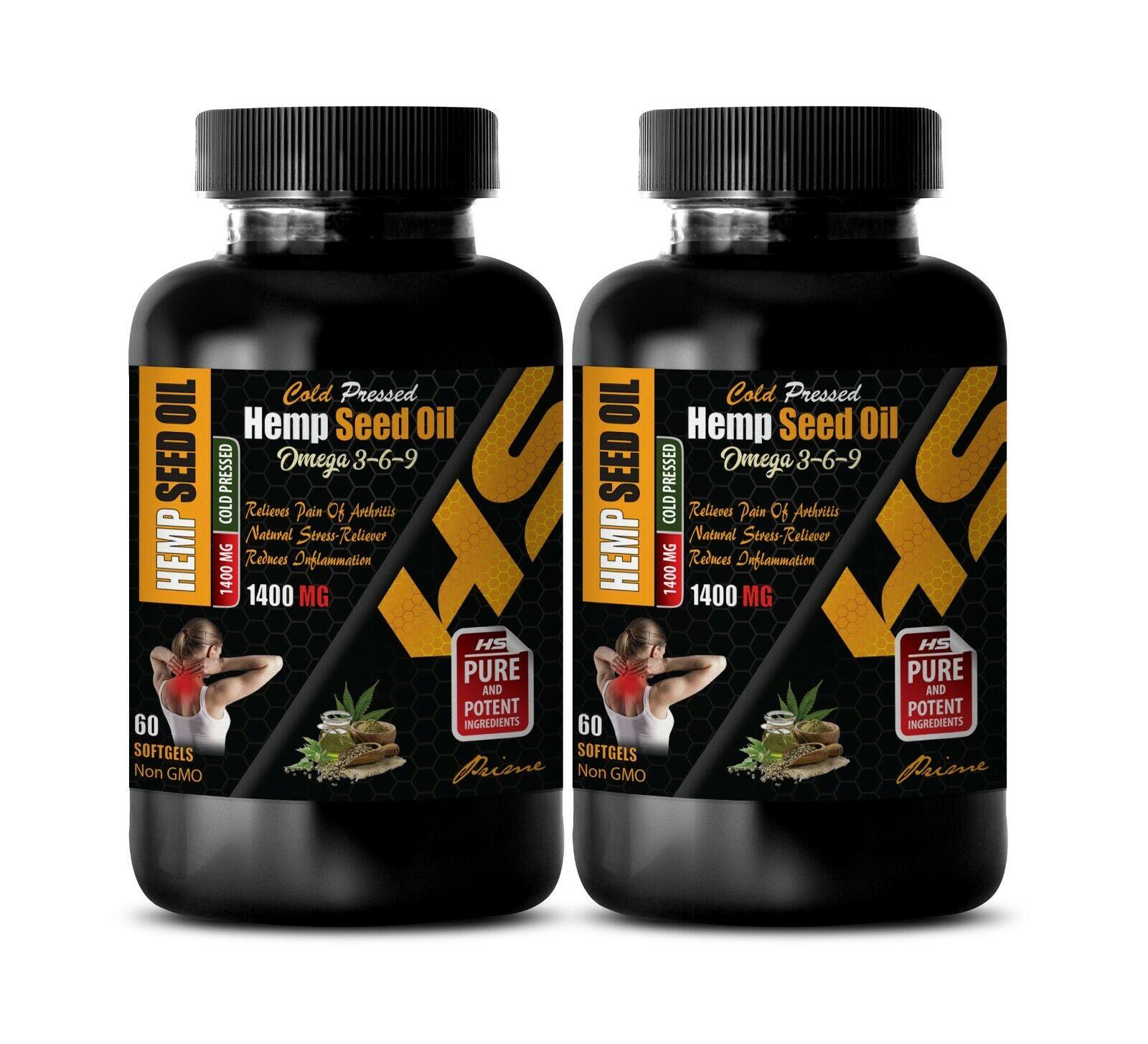 pure hemp oil - ORGANIC HEMP SEED OIL 1400mg - omega 3, 6, 9 fatty acids - 2 Bot