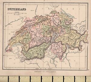 c1880-VICTORIAN-MAP-SWITZERLAND-BERNE-VALLAIS-ZURICH