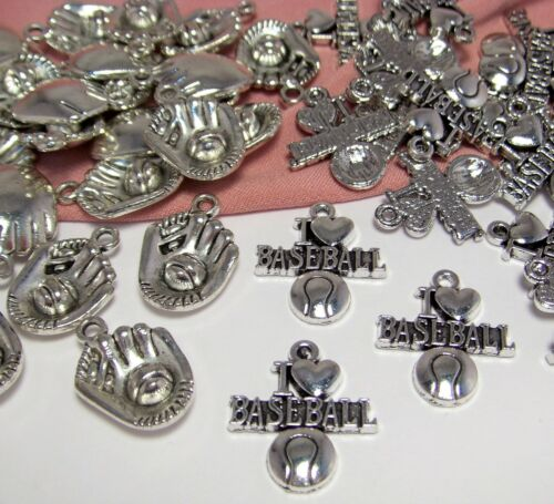 WHOLESALE-50 SILVER I LOVE BASEBALL CHARMS-3-D MITTS-SPORTS PLAYERS-TEAM-COACH