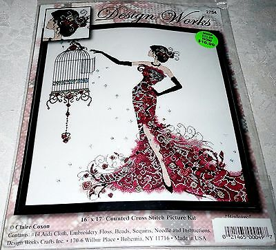 "Design Works Counted Cross Stitch Kit BIRD CAGE 16"" x 17"""