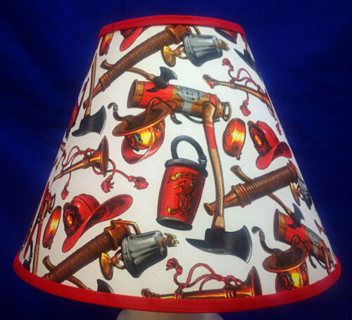 Fire Equipment on White Truck Firefighter Lamp Shade Lampshade