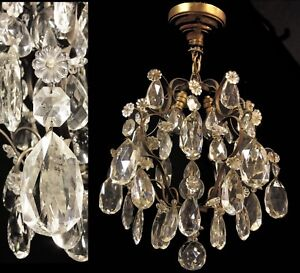 Antique french chandelier ebay antiquevintage french crystal prisms chandelier brass ceiling light fixture aloadofball Choice Image