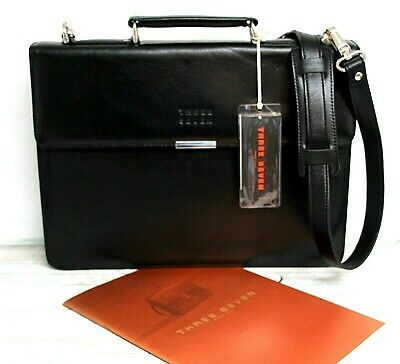 NWT Three Seven BLACK GENUINE LEATHER LAPTOP SHOULDER BAG ATTACHE BRIEFCASE, used for sale  Shipping to India
