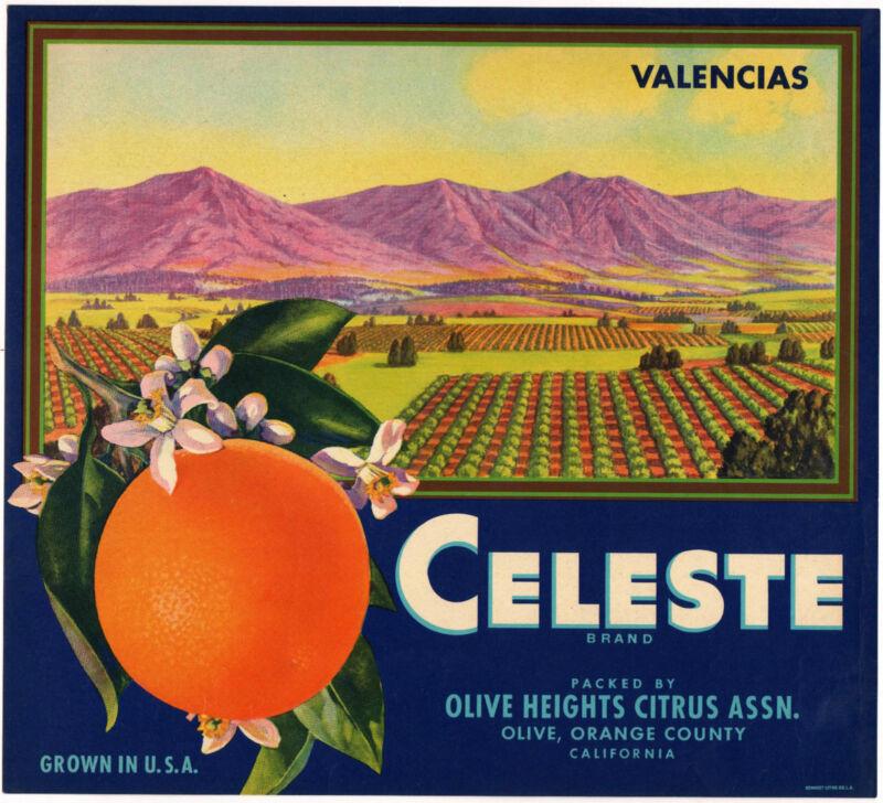*Original* CELESTE Olive Heights Orange Crate Label NOT A COLOR COPY!!!
