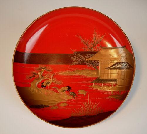 ANTIQUE RED LACQUER DISH Sake Cup Gold Maki-e Edo Meiji Japanese Bowl Sakazuke